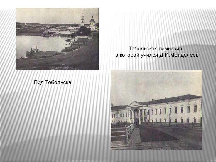 Вид Тобольска Тобольская гимназия, в которой учился Д.И.Менделеев