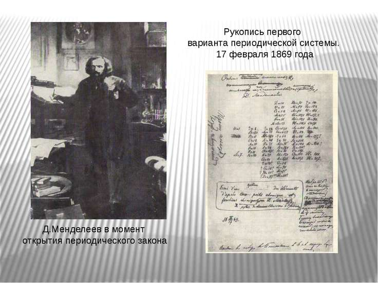 Д.Менделеев в момент открытия периодического закона Рукопись первого варианта...