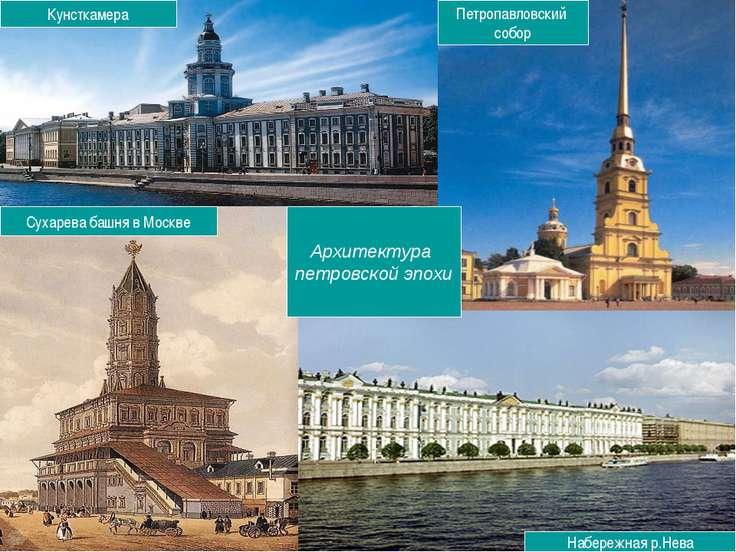 Архитектура петровской эпохи Сухарева башня в Москве Кунсткамера Петропавловс...