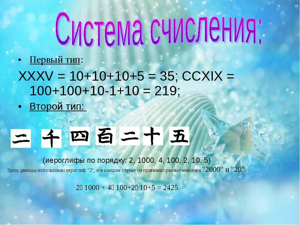 Первый тип: XXXV = 10+10+10+5 = 35; CCXIX = 100+100+10-1+10 = 219; Второй тип...