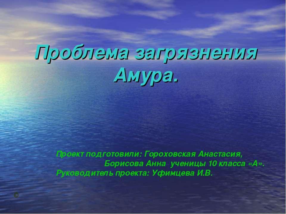 Проблема загрязнения Амура. Проект подготовили: Гороховская Анастасия, Борисо...