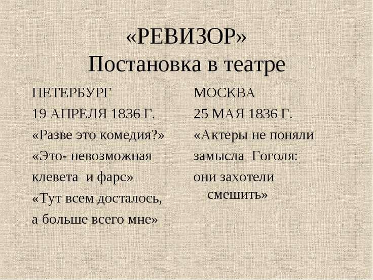«РЕВИЗОР» Постановка в театре ПЕТЕРБУРГ 19 АПРЕЛЯ 1836 Г. «Разве это комедия?...