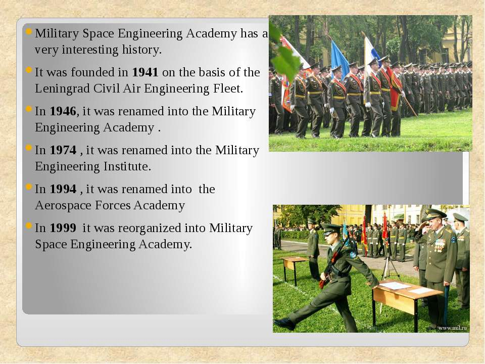 Military Space Engineering Academy has a very interesting history. Military S...