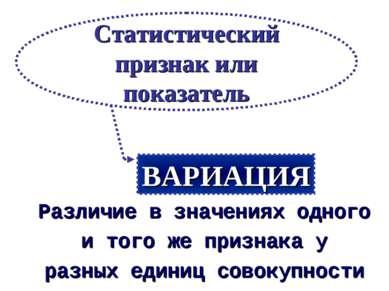 Различие в значениях одного и того же признака у разных единиц совокупности С...