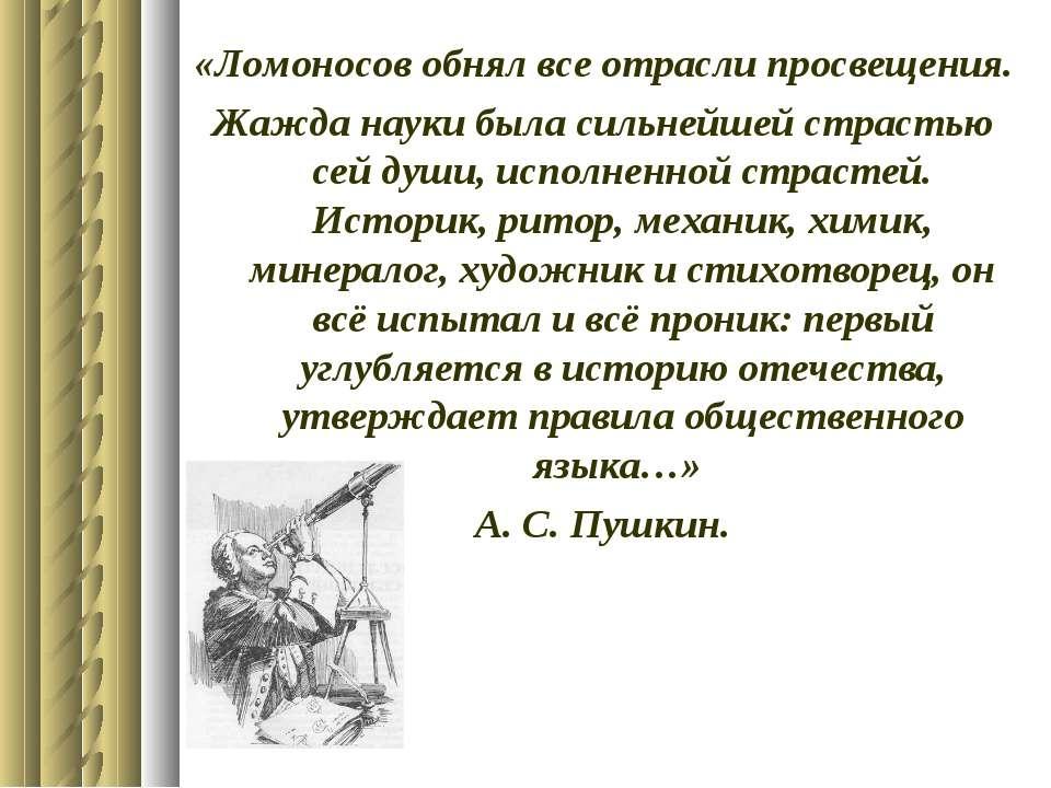 «Ломоносов обнял все отрасли просвещения. Жажда науки была сильнейшей страсть...
