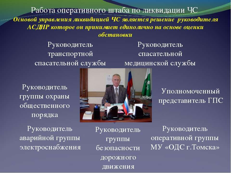 Работа оперативного штаба по ликвидации ЧС Руководитель спасательной медицинс...