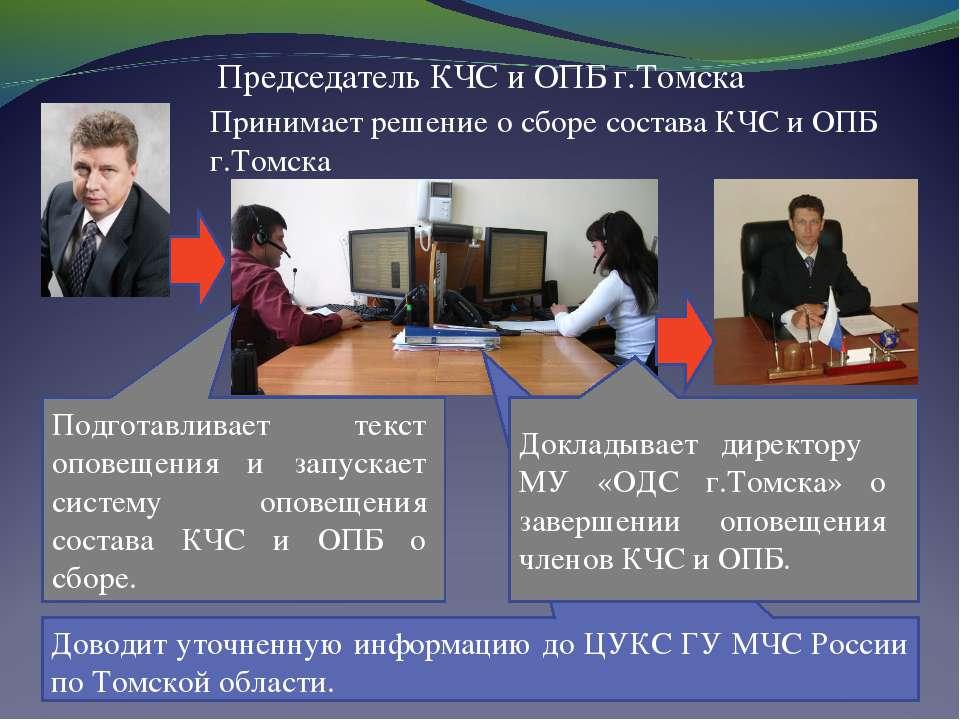 Председатель КЧС и ОПБ г.Томска Принимает решение о сборе состава КЧС и ОПБ г...
