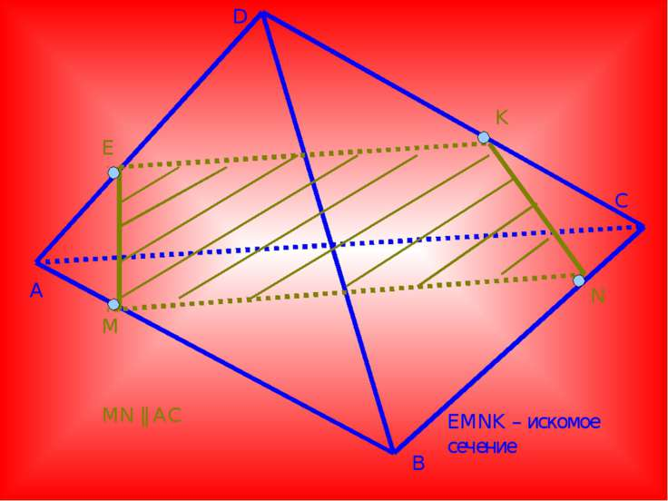 A D B C E M K N MN || AC EMNK – искомое сечение