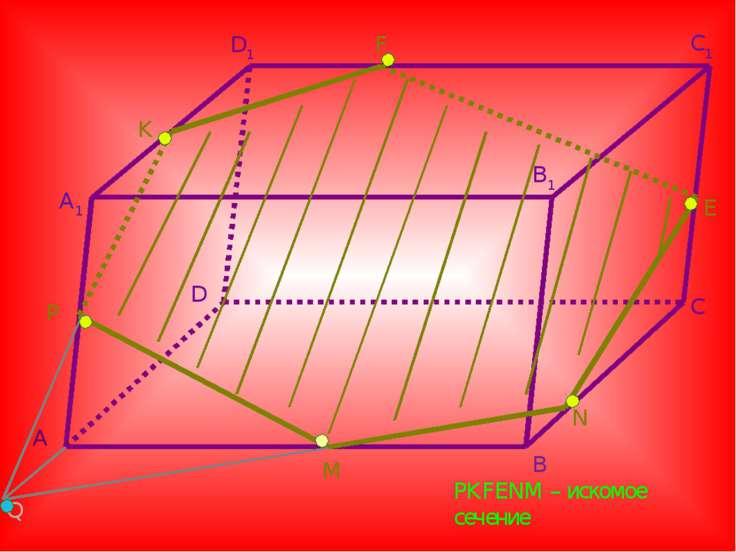 A A1 D D1 B B1 C C1 F E N M P K Q PKFENM – искомое сечение