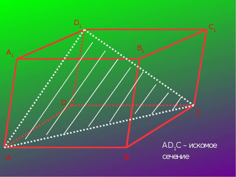 A B C D A1 D1 B1 C1 AD1C – искомое сечение