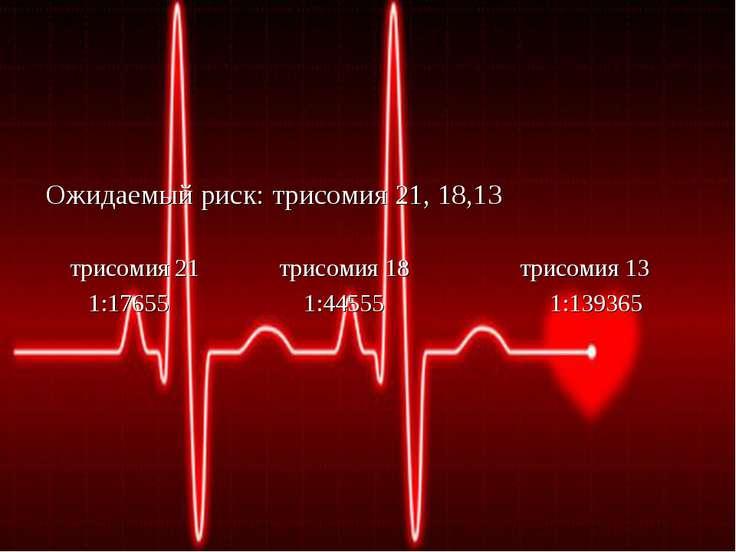 Ожидаемый риск: трисомия 21, 18,13 трисомия 21 трисомия 18 трисомия 13 1:1765...
