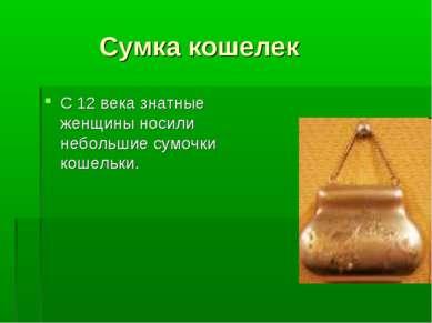 Сумка кошелек С 12 века знатные женщины носили небольшие сумочки кошельки.
