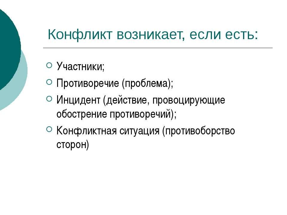 Конфликт возникает, если есть: Участники; Противоречие (проблема); Инцидент (...