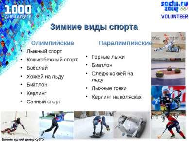 Лыжный спорт Конькобежный спорт Бобслей Хоккей на льду Биатлон Керлинг Санный...