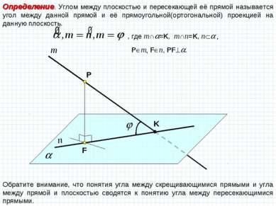 Определение. Углом между плоскостью и пересекающей её прямой называется угол ...