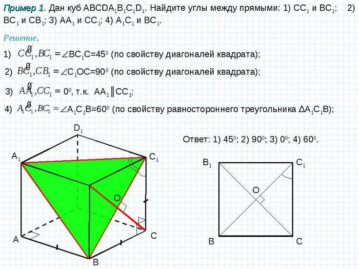 A B C D1 A1 C1 Пример 1. Дан куб ABCDA1B1C1D1. Найдите углы между прямыми: 1)...
