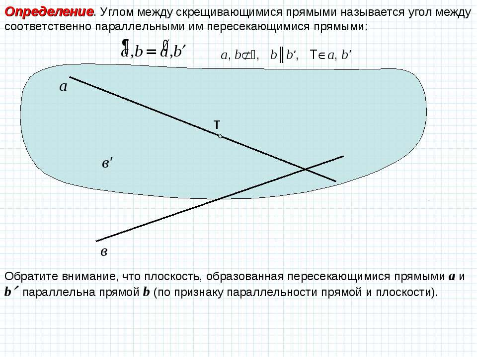 Определение. Углом между скрещивающимися прямыми называется угол между соотве...