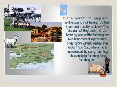 The South of England is the country of farms. It's flat-like land, mostly ara...
