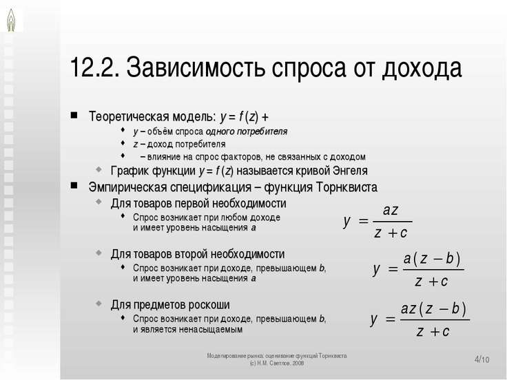 12.2. Зависимость спроса от дохода Теоретическая модель: y = f (z) + ε y – об...
