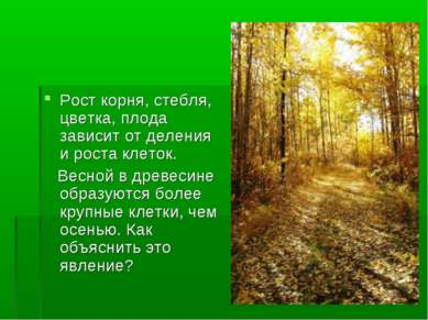 Рост корня, стебля, цветка, плода зависит от деления и роста клеток. Весной в...