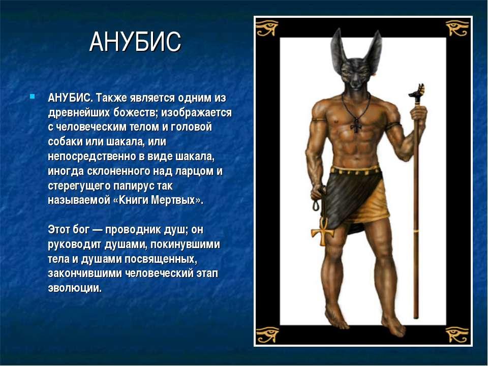 АНУБИС АНУБИС. Также является одним из древнейших божеств; изображается с чел...