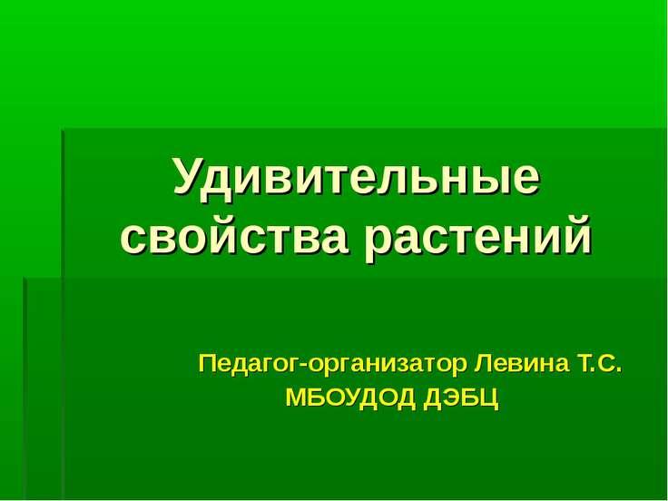 Удивительные свойства растений Педагог-организатор Левина Т.С. МБОУДОД ДЭБЦ