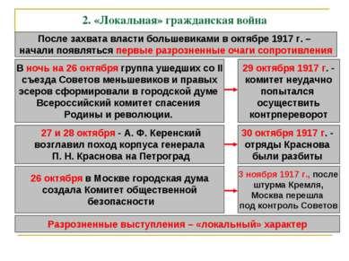 2.«Локальная» гражданская война После захвата власти большевиками в октябре ...