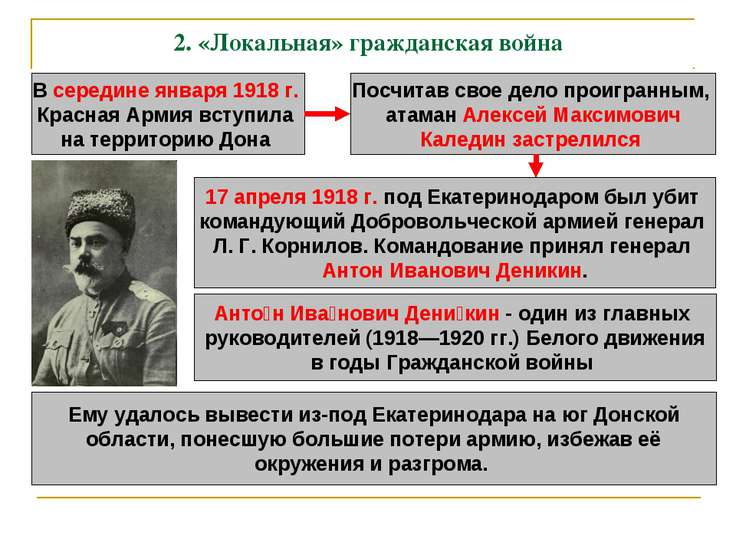 2.«Локальная» гражданская война В середине января 1918 г. Красная Армия всту...
