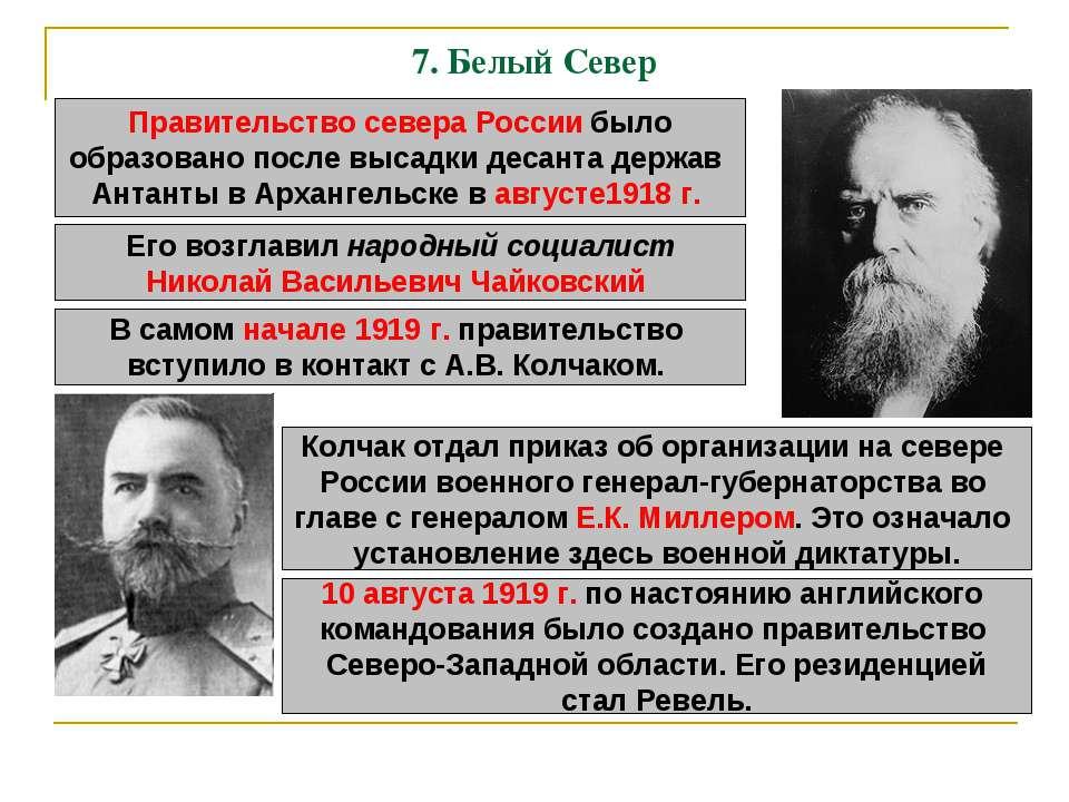 7. Белый Север Правительство севера России было образовано после высадки деса...