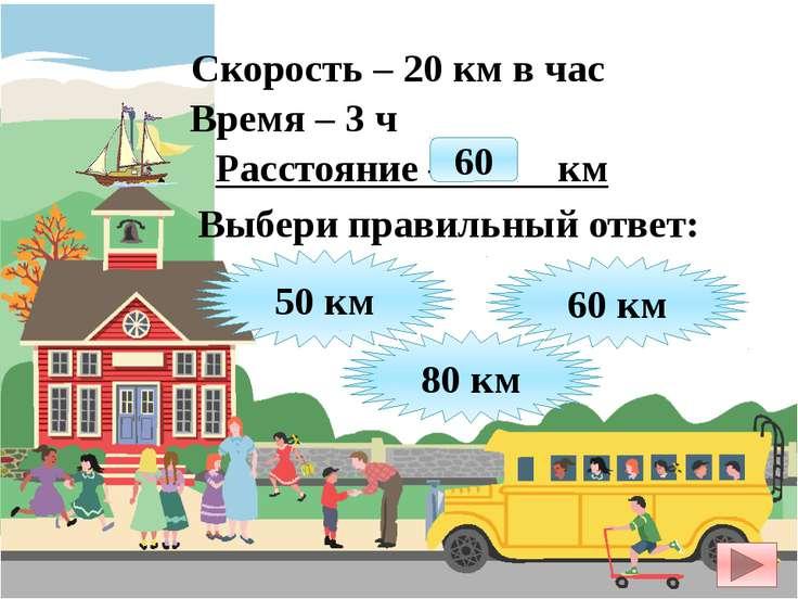 Скорость – 20 км в час Время – 3 ч Расстояние – ? км 50 км 60 км 80 км Выбери...