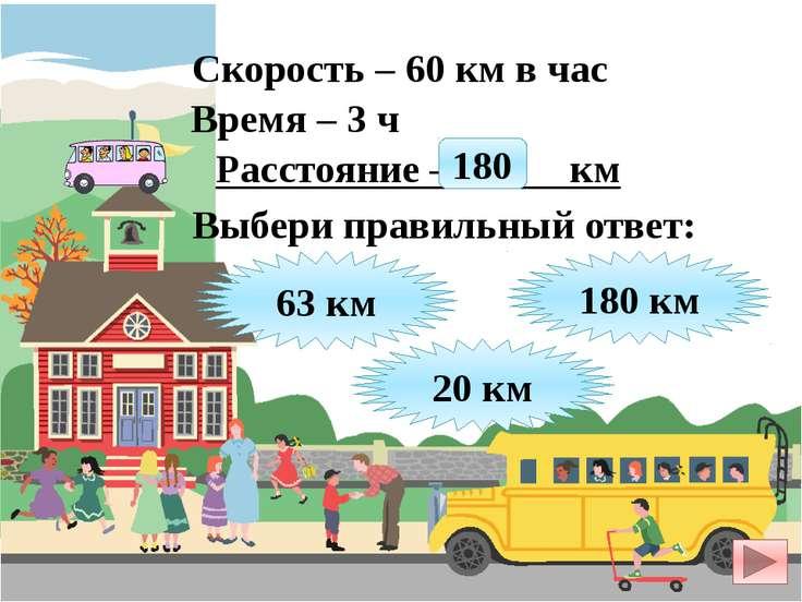 Скорость – 60 км в час Время – 3 ч Расстояние – ? км 63 км 180 км 20 км Выбер...
