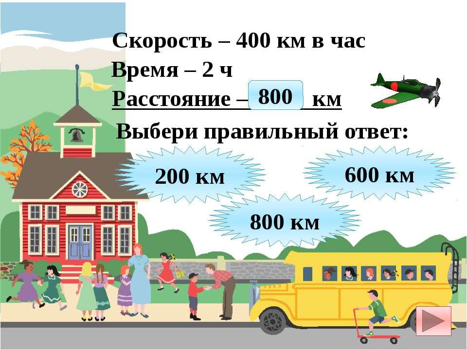 Скорость – 400 км в час Время – 2 ч Расстояние – ? км 200 км 800 км 600 км Вы...