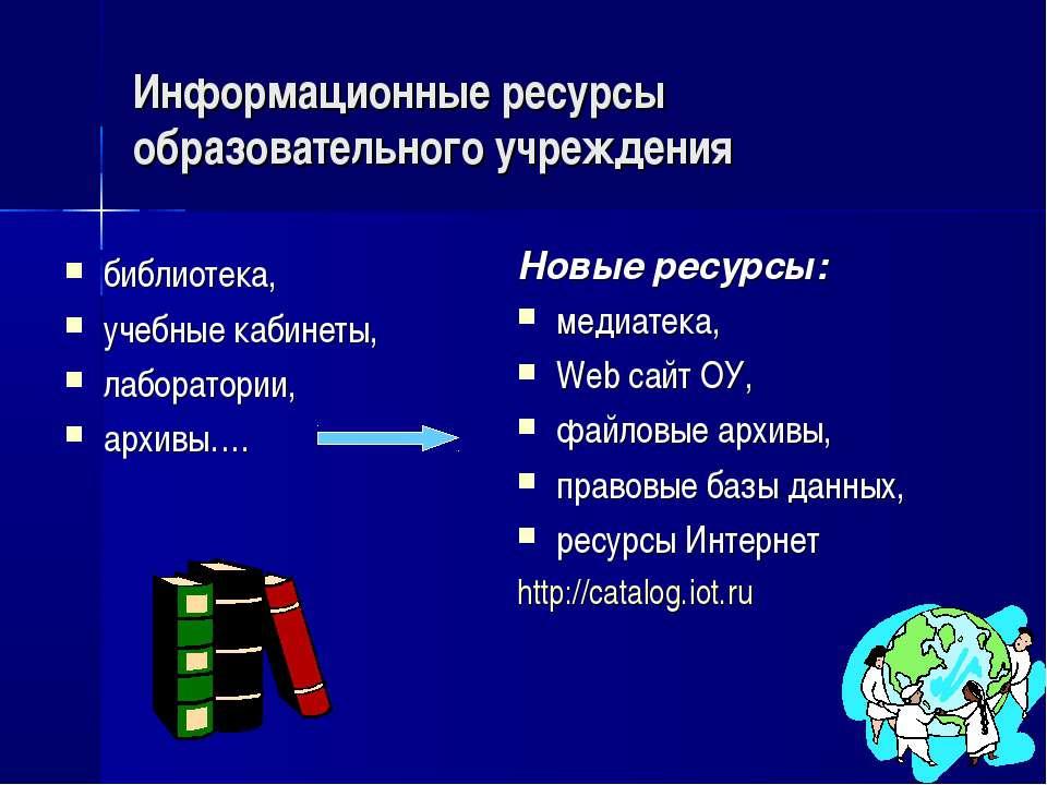 Информационные ресурсы образовательного учреждения библиотека, учебные кабине...