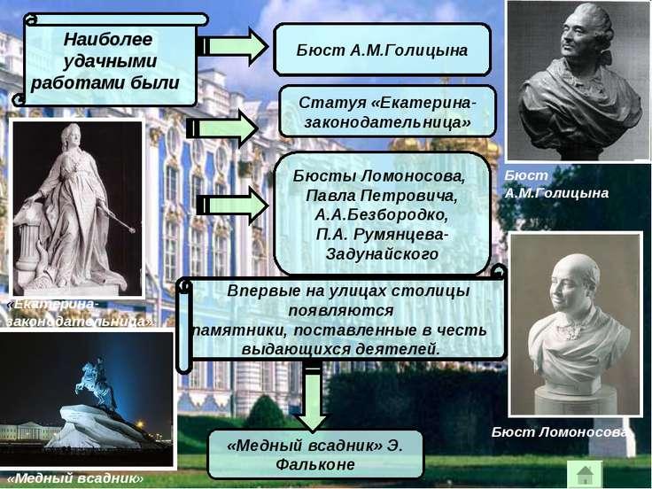Наиболее удачными работами были Бюст А.М.Голицына Статуя «Екатерина- законода...