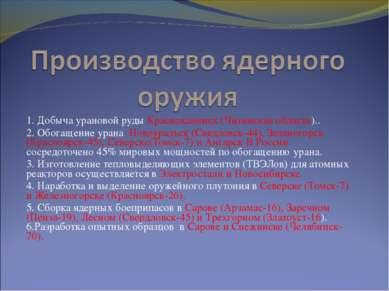 1. Добыча урановой руды Краснокаменск (Читинская область).. 1. Добыча ураново...