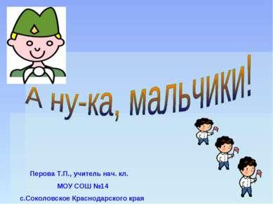 Перова Т.П., учитель нач. кл. МОУ СОШ №14 с.Соколовское Краснодарского края