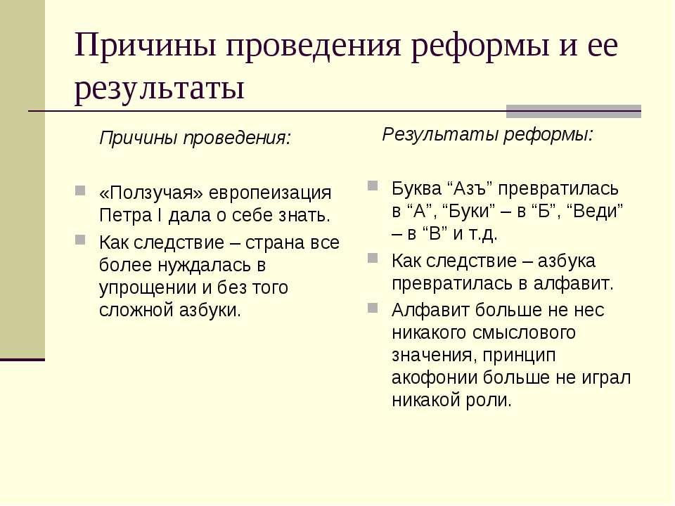 Причины проведения реформы и ее результаты Причины проведения: «Ползучая» евр...