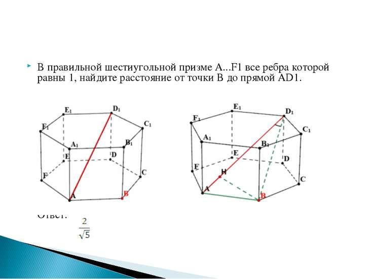В правильной шестиугольной призме A...F1 все ребра которой равны 1, найдите р...