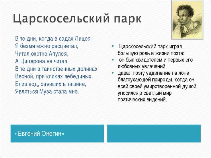«Евгений Онегин» Царскосельский парк играл большую роль в жизни поэта: он был...