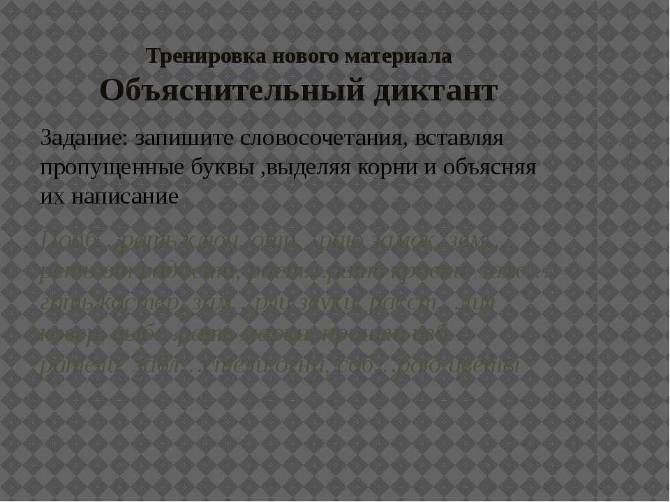 Тренировка нового материала Объяснительный диктант Задание: запишите словосоч...