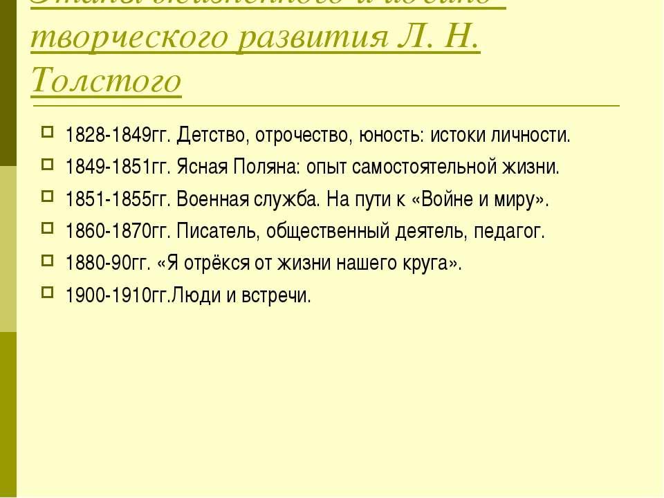 Этапы жизненного и идейно-творческого развития Л. Н. Толстого 1828-1849гг. Де...