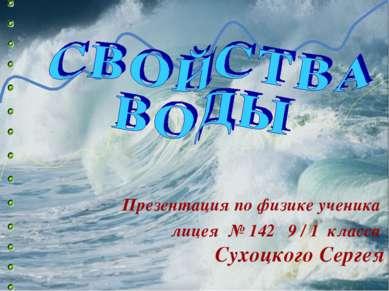 Презентация по физике ученика лицея № 142 9 / 1 класса Сухоцкого Сергея