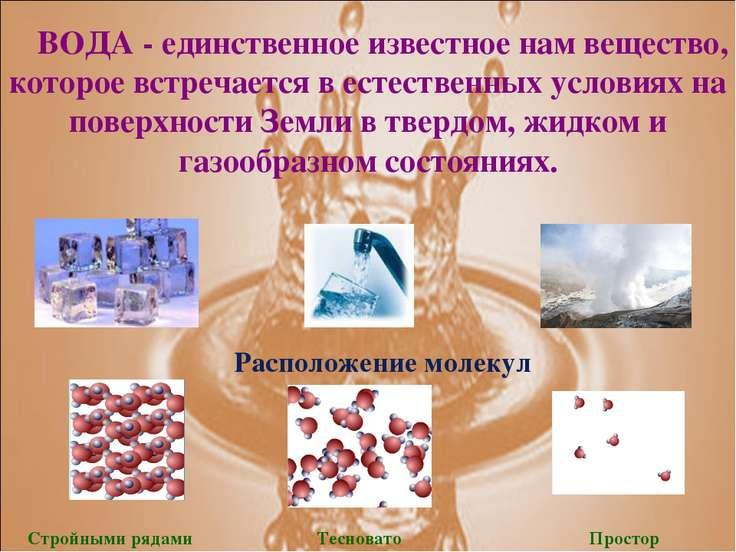 ВОДА - единственное известное нам вещество, которое встречается в естественны...