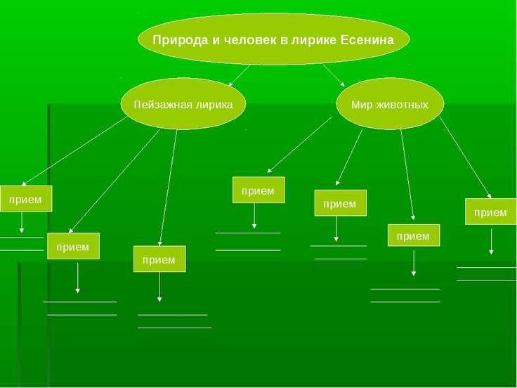 Природа и человек в лирике Есенина Пейзажная лирика Мир животных прием прием ...