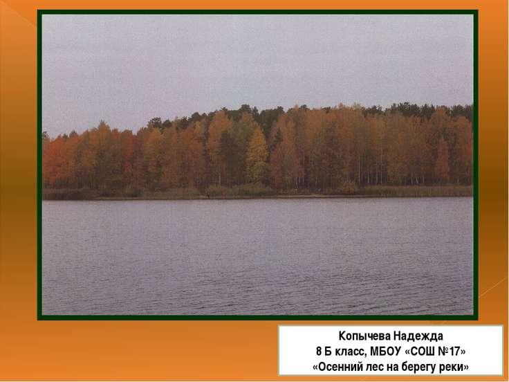 Копычева Надежда 8 Б класс, МБОУ «СОШ №17» «Осенний лес на берегу реки»