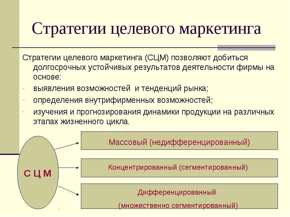 Стратегии целевого маркетинга Стратегии целевого маркетинга (СЦМ) позволяют д...