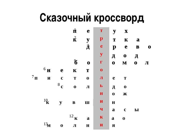 Сказочный кроссворд 1 2 3 4 5 6 7 8 9 10 11 12 13 п е т у х к у р т к а д е р...