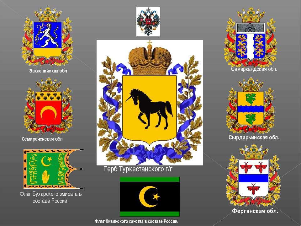 Герб Туркестанского г/г Флаг Хивинского ханства в составе России. Закаспийска...