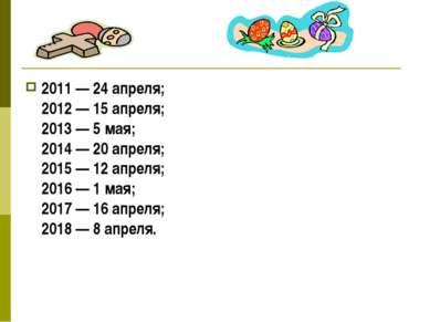 2011 — 24 апреля; 2012 — 15 апреля; 2013 — 5 мая; 2014 — 20 апреля; 2015 — 12...