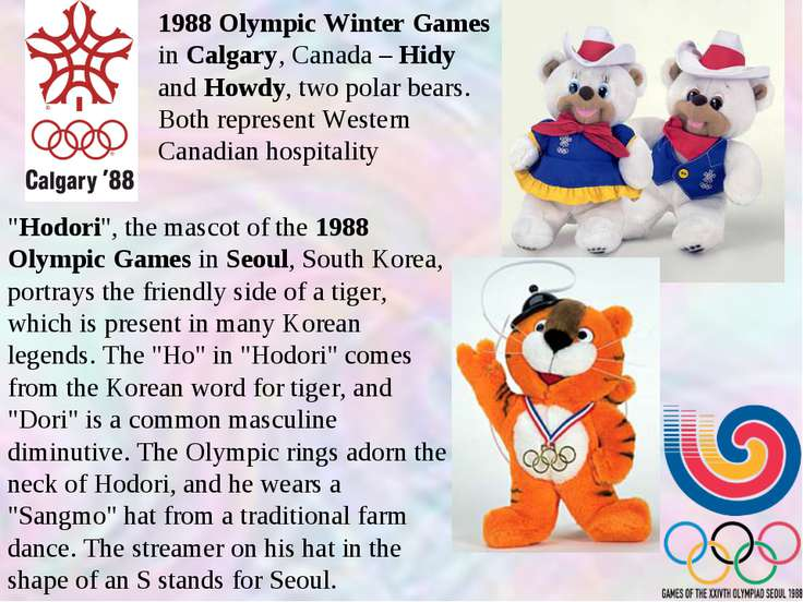 1988 Olympic Winter Games in Calgary, Canada – Hidy and Howdy, two polar bear...